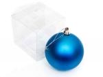 Шар елочный пластиковый синий 80 мм