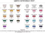 Карта цветов сатиновой ленты